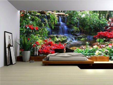 Forest Waterfall and Flowers wall mural wallpaper